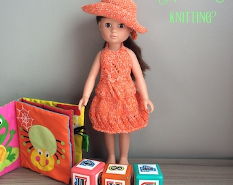 Skirt and tank top in orange cotton for doll Corolla 35 cm