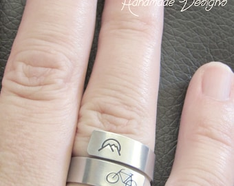 Bicycle Ring, Bicycle Jewelry, Mountain Ring, Mountain Jewelry, Wrap Ring, Sterling Silver Rings, Rings for Women, Gift for Her