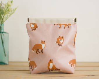 Laminated Charger case, Cosmetic pouch, Ditty bag, Make-up Case, Travel pouch / Fox