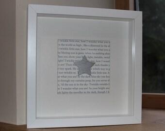 Framed 'Twinkle Twinkle Little Star' print Christening gift first 1st birthday present
