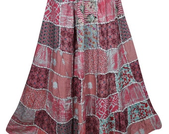 Pink Vintage Patchwork Long Skirt Indian Inspired Ethnic Printed A-Line Maxi Skirts