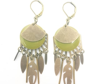 Green and bronze earrings