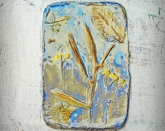 Botanical Wall Hanging, Wall Art, Plaque, Yarrow Flowers, Grass, Leaves, Nature Inspired, Blue, Glazed Stoneware, Earthy, Natural Home Decor