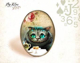Ring Cabochon • Alice in wonderland rabbit Wonderland the Cheshire Cat •