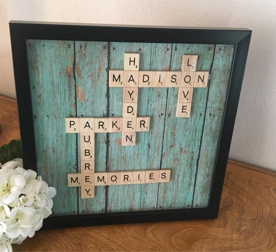 Family frame scrabble wall art personalized frame scrabble