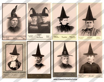 Digital Collage Sheet Halloween Witches No. 3  (Sheet no. H24) Instant Download