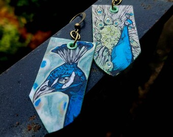 Peacock earrings - Hand-Painted bird earrings Portland Oregon