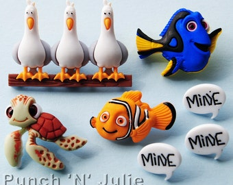 FINDING NEMO - Disney Fish Turtle Seagulls Dory Squirt Dress It Up Craft Buttons