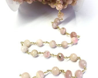 Pink Opal Rosary Chain, Pink Opal Stone Chain, Wire Wrapped Chain, Gold Plated Chain Rosary Chain, Rosary Beaded Chain Stone Chain By Foot