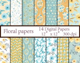 "Floral digital paper: ""MINT FLORAL PAPER"" Floral Decoupage paper Floral Backgrounds Wedding Paper Flowers Paper Pack instant download"