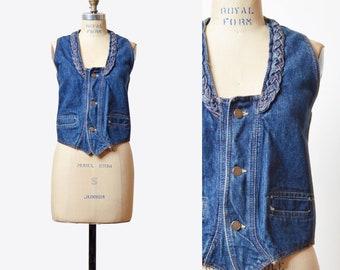 Vintage 70s Boho Denim Vest Blue Sleeveless Jean Jacket Western 1970s Biker Hipster Women Button Up Braided Denim Extra Small xs