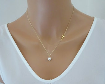 Sideways Cross Necklace with pearl, Baptism necklace, Bridesmaid Necklace, Gold fill cross necklace