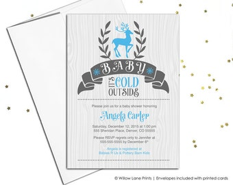 woodland baby shower invitations boy | unique baby shower invites | boys baby shower blue and gray | printable or printed - WLP00856