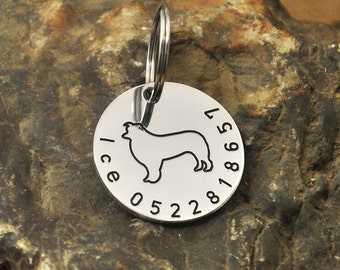 Border dog tag etsy border collie dog tag personalized dog tag dog id tag custom handmade pet id tag pet sciox Choice Image