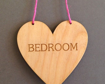 Bedroom Heart , Birch faced laser plywood engraved heart