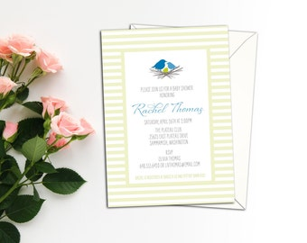Bird's in a Nest Baby Shower Invitation, Baby Birth Announcement, Personalized Shower Invitations, Custom Birth Announcements with envelopes