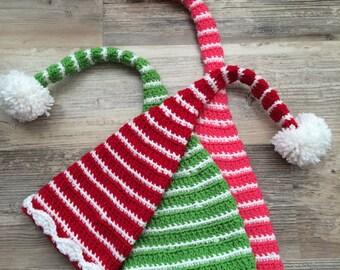 Crochet Christmas Hat, Elf Hat, Long Tail Baby hat