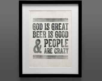 Vintage Poster, Instant Download, God is Great Beer is Good and People are Crazy, Original Art Print, 11x14