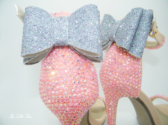 and ~ Silver Wedding Heels Bride Pageant ball Bridesmaid bow shoot High Photo Glamour Bridal Baby Rhinestone Strap Dance Pink Sandal qzt1E