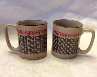 Vintage Nestle Creamy Hot Cocoa coffee mugs cups. Set of 2 free ship to US