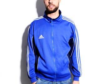Adidas vintage track jacket mens | Branded blue sport tracksuit top jacket | Vintage sport clothing men/women | HOT MILK Vintage | Size - L