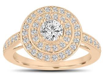 Diamond Engagement Ring, 18K Yellow Gold Double Halo Engagement Ring, VS2 GIA Certified Diamond Bridal Ring, 1.04 Carat Handmade