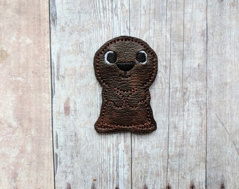 Otter Accessory, Embroidered Brown Vinyl with Choice of Headband, Pin, Magnet, Hair Clip, Ponytail, Shoe Clip, Barrette, Sea Otter