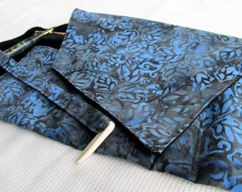 Indonesian Batik Cotton and Velvet Six-Pen Wrap, Pen Roll, Pen Case