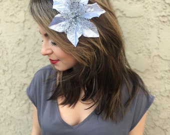 Silver Poinsettia Flower Hair Clip - Christmas Holiday Hair Clip - Festive Hair Clip - Christmas Hair Accessories - Holiday Outfit