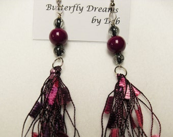 Purple Princess Ladder Trellis Ribbon Yarn Dangle Earrings