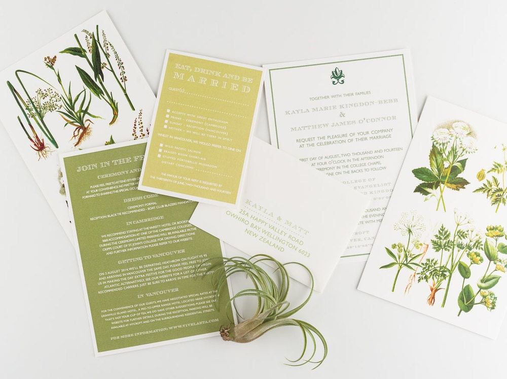 Wedding Invitation Vintage Botanical Garden Wedding