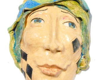 Ceramic mask, Wall Sculpture, Tarot fool, Carnival art, circus, Jester face,
