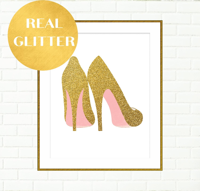 Gold Shoes Print Pink Gold Wall Art Vanity Wall Decor