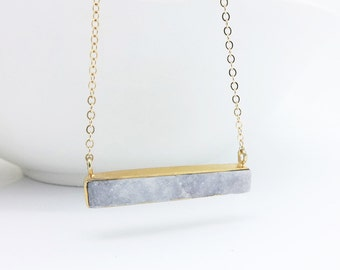 Druzy Necklace Gold Filled, Natural Druzy Pendant Necklace, Druzy Bar Necklace, Druzy Jewelry, Agate Geode Pendant Layering Necklace