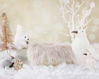Christmas Newborn Digital Backdrop - Snowy Scene 3 with Woodland Creatures