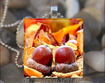 AUTUMN ACORNS Fall Leaves Leaf Acorn Thanksgiving Glass Tile Pendant Necklace Keyring