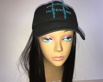 Ladies Chemo Black Cap with Blinged Hashtag