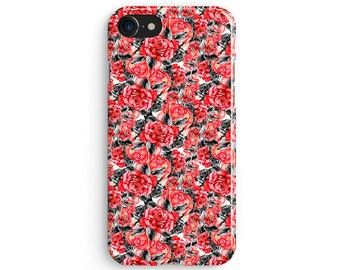 Floral red roses - iPhone X case, iPhone 8 case, iPhone 8 Plus, iPhone 7 case, Samsung Galaxy Note 8 case 1C103