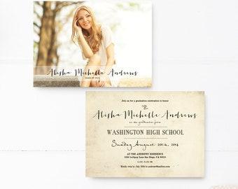 "Graduation Announcment, Invitation for high school, college or university grad, 5x7, Custom personalized wording - the ""Alisha 1"""
