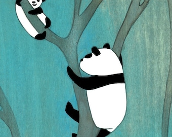 Curious Pandas - Signed Art Print