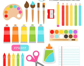 Art Supplies Clipart Set - painting, drawing, art, glue, crafting, clip art set - personal use, small commercial use, instant download