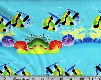 Michael Miller Tropical Fish Tank Cotton Fabric BTY #301