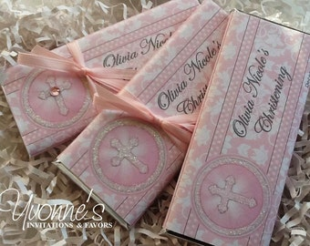 Communion Candy Bar Wrapper- Chocolate Bar Favors - Pink Bling Cross Communion / Christening / Baptism / Religious Event Candy Bar Favor