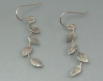 Sterling silver vine earrings, bridal vine earrings, botanical leaf earrings, elven vine earrings, branch earrings with leaves