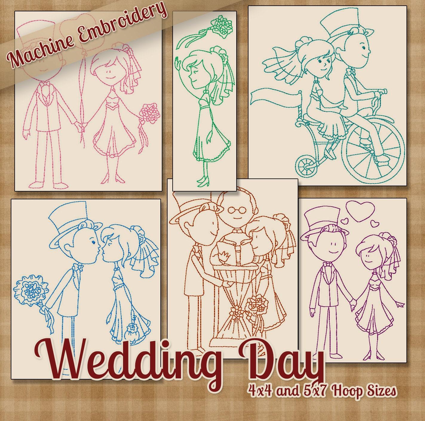 Redwork Wedding Day Machine Embroidery Patterns Designs 5x7