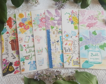 Watercolor Bookmarks - set of 6