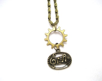 Music Note Necklace, Musician Gift Gear Jewelry, Music Necklace, Sheet Music Necklace, Treble Clef Necklace, Gear Necklace Gifts Under 20