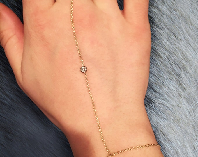 Diamond Dima Hand Chain in 14k Gold