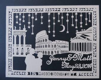 Custom First Wedding Anniversary Paper Cutting Original Art
