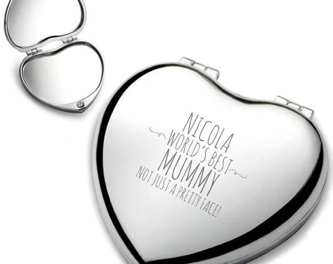 Personalised engraved MUMMY heart shaped compact mirror birthday gift idea, Not just a pretty face, chrome plated - HEM-F1